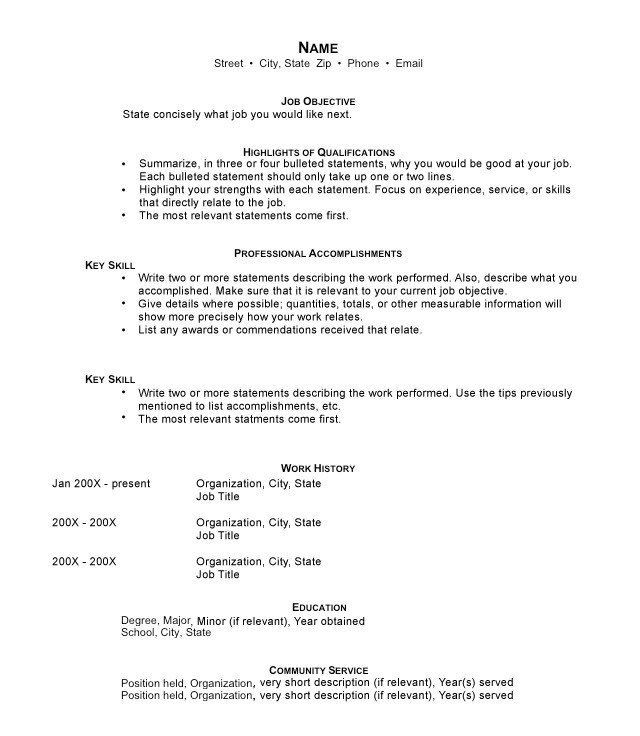Functional Resume Format  How To Write A Short Resume
